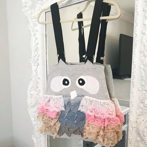SALE PASTEL Grey with PINKS Lace Owl Jumper